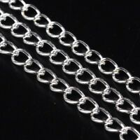 LOT de 8m - 8 mètres CHAINES ARGENTE chainette MAILLONS 5,5 x 3,5 x 0,5mm perles