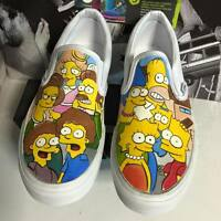 Vans Slip On Custom Shoes The Homer Simpson Bart Flanders Beige Cartoon Simpsons