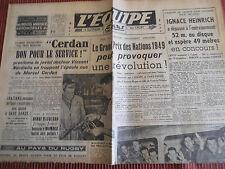 JOURNAL L'EQUIPE BOXE  MARCEL CERDAN 1949 (B)