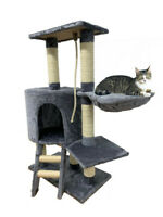 """37"""" Cat Tree Bed Furniture Scratching Tower Post Condo Kitten Pet House Gray"""