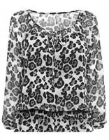 WOMENS NEXT BLACK ANIMAL PRINT SUMMER CHIFFON TIE NECK BLOUSE TOP 8-10 CLEARANCE