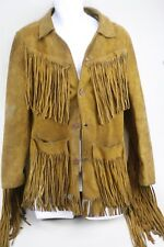 Vintage Men's Easy Rider Western Suede Leather Fringed Motorcycle Jacket Size S