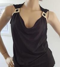 Authentic ESCADA Tank Top Blouse Ladies 36 Black Blouse Gold Crystal Buckles EC
