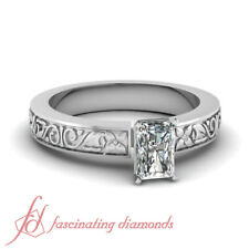 Floret Carved Solitaire Engagement Ring 0.70 Ct Radiant Cut:Very Good Diamond