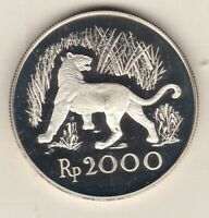 1974 INDONESIA TIGER SILVER PROOF 2000 RUPIAH WITH CAPSULE & CERTIFICATE.