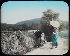 Glass Magic Lantern Slide FARMERS CARRYING WHEAT C1910 PHOTO JAPAN JAPANESE