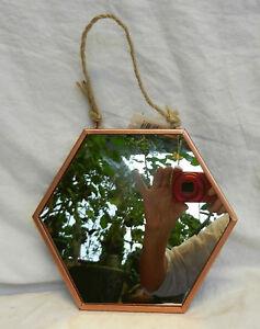 Deep Rose Gold Metal Framed Hexagonal Shape Wall Mirror - Small - BNWT