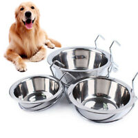 Metal Dog Pet Bowl Cage Crate Non-Slip Hanging Food Dish Water Feeder with Hook