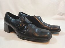 """St Johns Bay Buckle Oxford 2"""" Block Heels BLACK Leather Size 7.5 M Abby"""