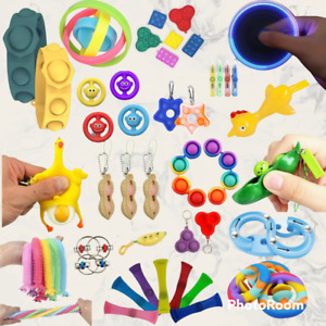 60+ Stress Relief Fidget Toys - Pop It Simple Dimple Sensory Keyring Autism ADHD