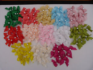 Small Ribbon Bows Double loop Diamante Center 10pcs/20pcs /40pcs Craft