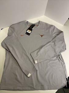 Nike Texas Longhorns On Field Dry Fit Long Sleeve Shirt Gray CQ5070 007 2XL XXL