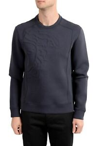 Versace Collection Men's Gray Logo Designed Crewneck Sweatshirt