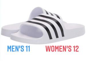 Adidas Adilette Aqua White Black UNISEX Slides Men's 10 Women's 11 Sandles NEW