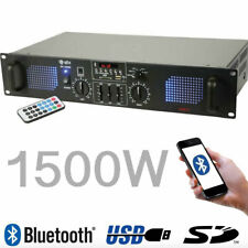 QTX SPL1500 1500W Stereo Media Amplifier Bluetooth USB SD FM Cafe Bar Restaurant