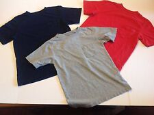 Boys Size S T-shirts Pocket 100% Cotton Blue Red Gray Lot Of 3 Place Faded Glory