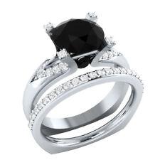 Certified 3.69Ct Black Round Cut Diamond 14Kt White Gold Engagement Bridal Ring