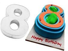 EuroTins Large Number 8 EIGHT Cake Baking Tin Pan 8th 80th Birthday Anniversary