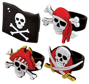 12 x Pirate rubber Rings - Skull Finger Pinata Loot/Party Bag Fillers Wedding
