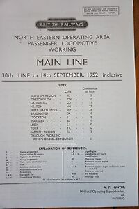 1952 Fascimilie Main Line Engine Workings North Eastern Region Railway