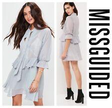 MISSGUIDED  SEXY  DRAPE FLOWY  TIE  NECK  RUFFLE   DRESS   Sz 4  UK 8  NEW