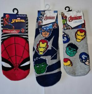 Boys Socks - Marvel AVENGERS - Size 3-5.5- New Spider-man Hulk, Iron man