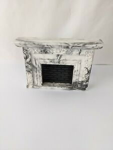 Dollhouse Miniature vintage  Victorian  fireplace White and Black Marbalized