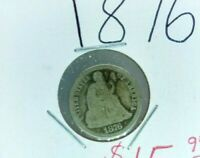 1876 P SEATED LIBERTY SILVER DIME COIN CHOICE AG / G GOOD Circulated