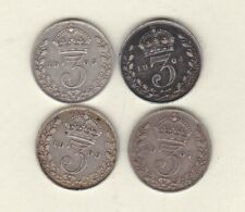 More details for four 1904/1905/1907 & 1909 silver three pence coins in good fine condition.