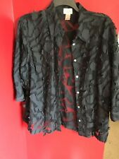 CHOICES WOMENS 2X BLACK 3/4 SLEEVE LACY TOP BLOUSE SHIRT 2X PLUS