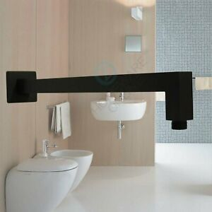 Black 400mm Wall Mount Extension Elbow Shower Arm for Top Head Female End