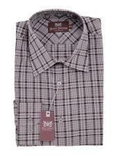 $245 Hickey Freeman Brown White Plaid Cotton Dress Shirt 16.5 36/37 MOP Buttons