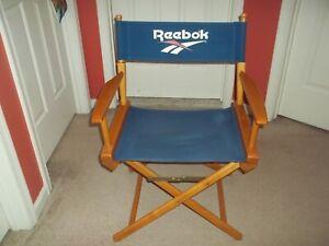 "VTG Rare 1990s Reebok British Flag Director Chair Brown Blue Folds Up 32.5"" Tall"