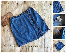 Vintage Blue Cotton Jean Skirt Lace Up Back Zipper Denim Chambray Plus Size 20
