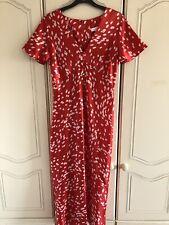 Topshop red white polka dot angel sleeve midi dress size 8