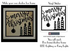 Merry Christmas with Candles  - Christmas Sticker for Light Up Shadow Box Frame