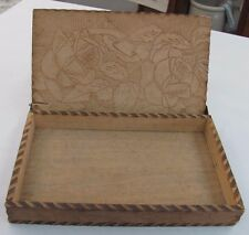 Vintage Wood Box Hinged WIZARD L.F. Grammes Flowers Roses Burned Pyro Wooden