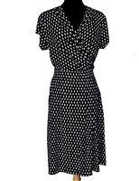 Stitch Fix 41 Hawthorn Women Black Polka Dot Stretchy Short Sleeves Dress Size M