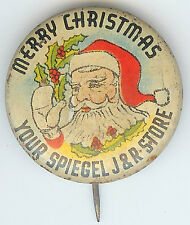 1940's MERRY CHRISTMAS Santa Claus SPIEGEL J&R Store Advertising Pin