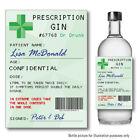 Personalised GIN Prescription bottle label Sticker Birthday Christmas Santa 137