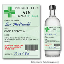 Personalised GIN Prescription bottle label Sticker Christmas Secret Santa 137