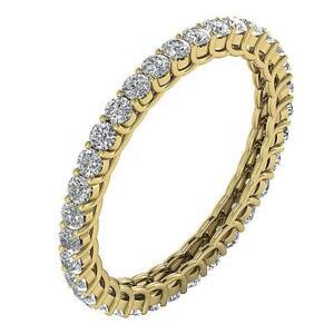 Eternity Anniversary Ring Fashion Natural Round Diamond I1 G 1.40 Ct 14K Gold