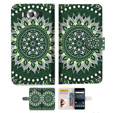 Green AZTEC TRIBAL TPU Wallet Case Cover For Nokia 5 -- A002