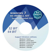 Windows 7 32 64 bit (SP1) Home Premium Re install Recovery DVD Disc