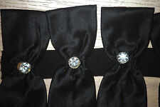 Jessica McClintock BLACK SATIN w Swarovski Crystal 18 bow bows dress straps NEW