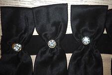 Jessica McClintock BLACK SATIN w Swarovski Crystal 18 bow bows dress straps NEW