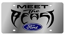 New Ford Meet The Beast Blue Logo Stainless Steel License Plate