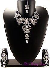 Étnicas de danza del vientre Hollywood Alfombra Roja 4pc Plata Cristal de joyería nupcial Set