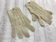 Vintage 1950s Hand Knit Child Gloves Loose Knit Ivory Cream Dress Button Youth