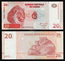 CONGO DEMOCRATIC REPUBLIC 20 Francs 1997 P-88A Printer HDM Lion UNC